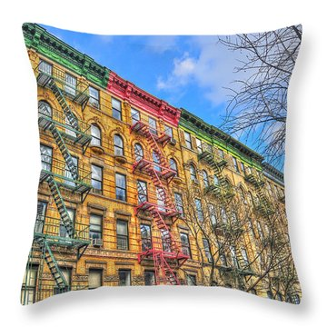 East Village Buildings On East Fourth Street And Bowery Throw Pillow