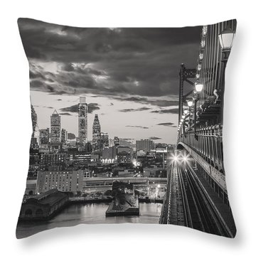 Eastbound Encounter In Black And White Throw Pillow