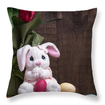 Easter Bunny Throw Pillow by Edward Fielding
