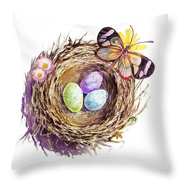 Easter Colors Bird Nest Throw Pillow by Irina Sztukowski