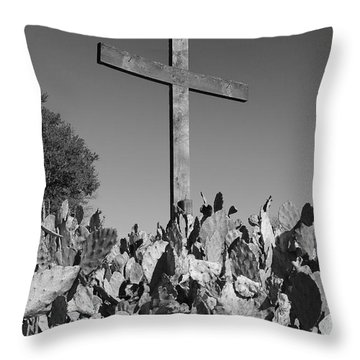 Throw Pillow featuring the photograph Easter Cross Black And White by Jeanette French