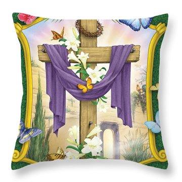Easter Cross Throw Pillow