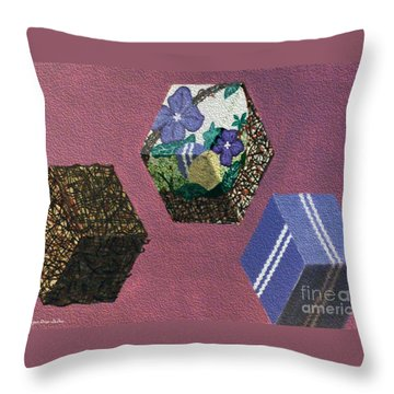 Throw Pillow featuring the painting Easter Cubes - Painting by Megan Dirsa-DuBois