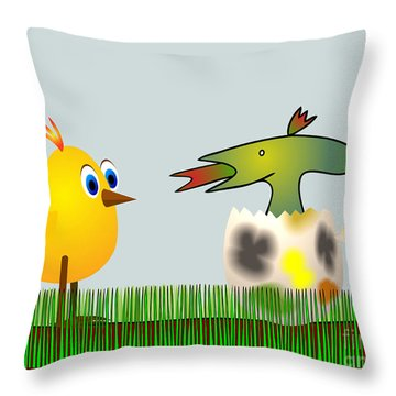 Easter Egg - Disagreeable Surprise Throw Pillow by Michal Boubin