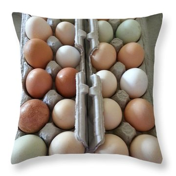 Easter Eggs Au Naturel Throw Pillow
