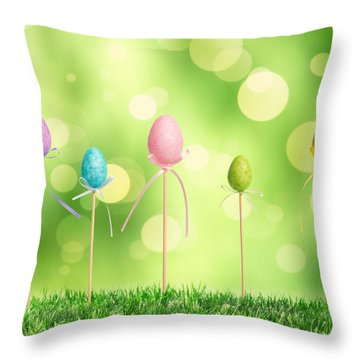 Easter Eggs Throw Pillow by Amanda Elwell
