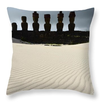 Easter Island 9 Throw Pillow by Bob Christopher