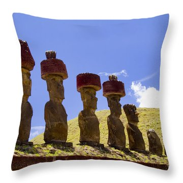 Easter Island Statues  Throw Pillow by David Smith
