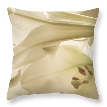 Throw Pillow featuring the photograph Easter Lilies by Chris Scroggins