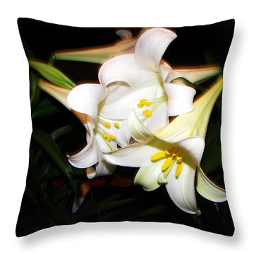 Easter Lilies Throw Pillow by Pamela Hyde Wilson