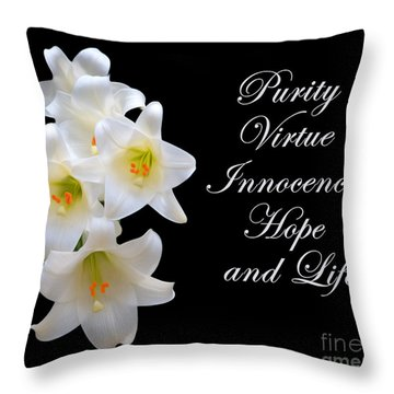 Easter Lily Throw Pillow by Cecil Fuselier