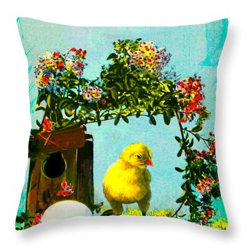 Easter Postcard Vintage 1908 Throw Pillow