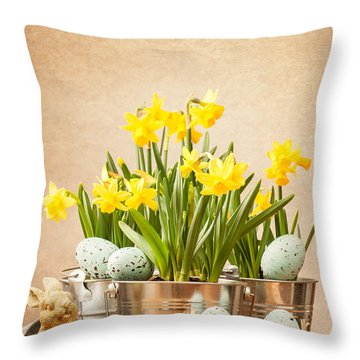 Easter Setting Throw Pillow by Amanda Elwell