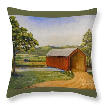 Eastern Covered Bridge Throw Pillow