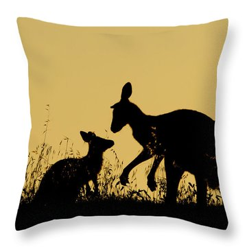 Eastern Grey Kangaroo And Joey Mount Throw Pillow