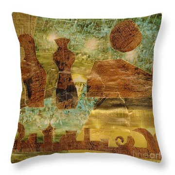 Eastern Motif Throw Pillow by Patricia Cleasby