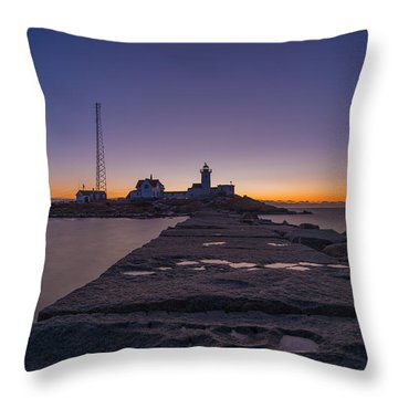 Eastern Point Lighthouse Just Before Sunrise Gloucester Ma Throw Pillow