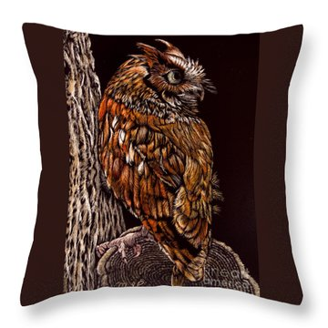 Eastern Screech Owl Throw Pillow