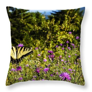 Eastern Tiger Swallowtail Blazing Star Throw Pillow
