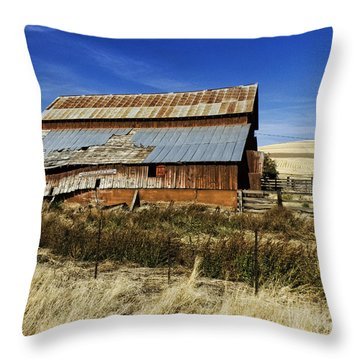 Eastern Washington Barn Throw Pillow by Ron Roberts