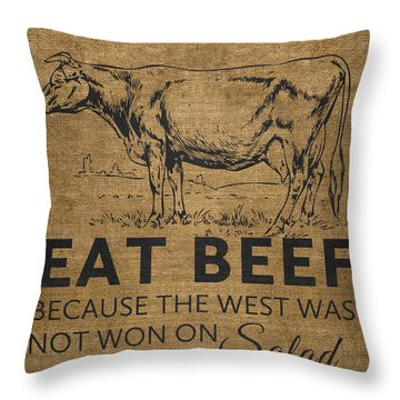 Throw Pillow featuring the digital art Eat Beef by Nancy Ingersoll