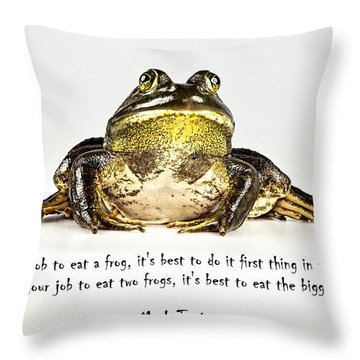 Eat Frog Throw Pillow by John Crothers