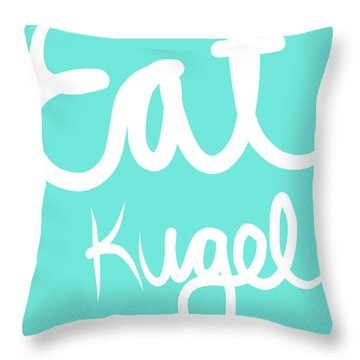 Eat Kugel - Blue And White Throw Pillow