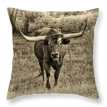 Eat Leaf Not Beef Sepia Throw Pillow