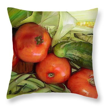 Eat Your Veggies Throw Pillow by Elaine Plesser