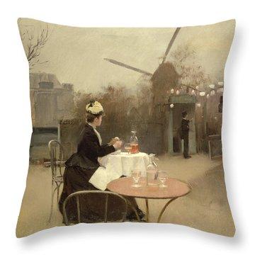 Eating Al Fresco Throw Pillow by Ramon Casas i Carbo