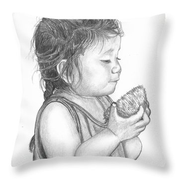 Eating Coconut Throw Pillow by Lew Davis