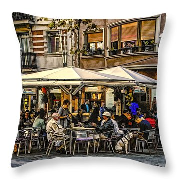 Throw Pillow featuring the photograph Eating Out In Barcelona by Brian Tarr
