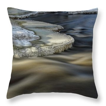 Eau Claire Dells Park River Ice Throw Pillow