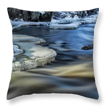 Eau Claire River Ice Throw Pillow