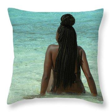 Ebony Queen On Beach Throw Pillow