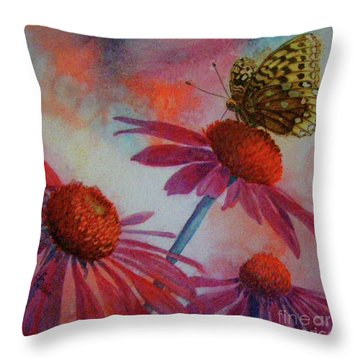 Echinacea Fritillaria Throw Pillow