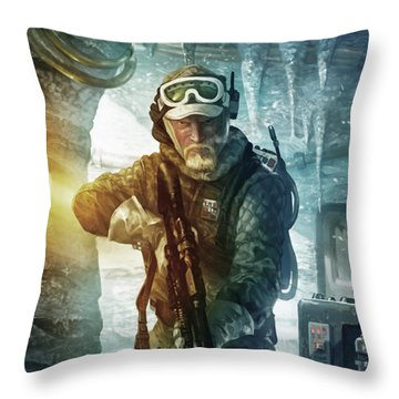 Echo Base Trooper Throw Pillow by Ryan Barger