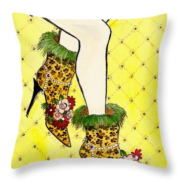 Throw Pillow featuring the painting Eclectic Women's Leopard Boots On Yellow by Nan Wright