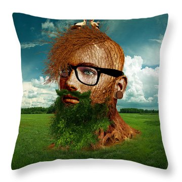 Eco Hipster Throw Pillow by Marian Voicu