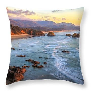 Ecola Beach Sunset Throw Pillow