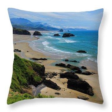 Ecola State Park Beach Throw Pillow