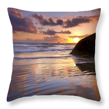 Ecola Sunset Throw Pillow by Mike  Dawson