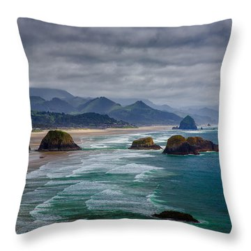 Ecola Viewpoint Throw Pillow by Rick Berk