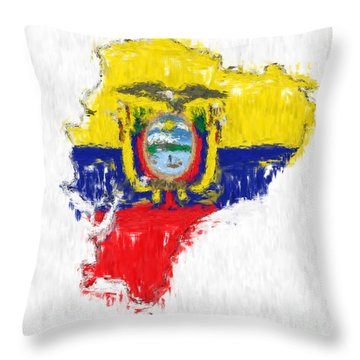 Ecuador Painted Flag Map Throw Pillow by Antony McAulay