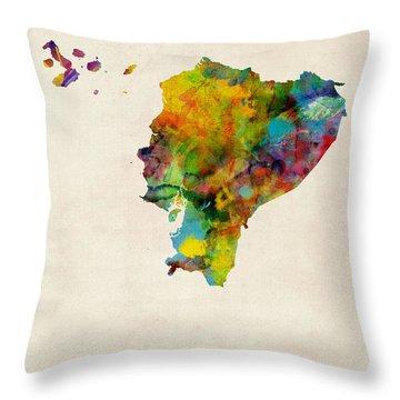 Ecuador Watercolor Map Throw Pillow