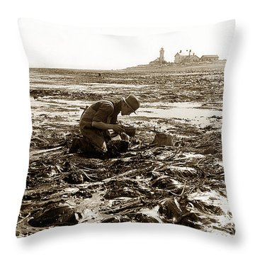 Ed Ricketts At Point Wilson Lighthouse In Port Townsend Wa July 1930 Throw Pillow