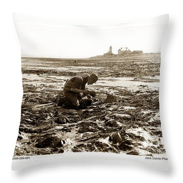 Ed Ricketts At Point Wilson Lighthouse In Port Townsend Wa 1930 Throw Pillow