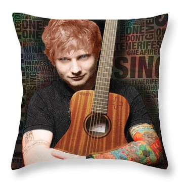 Ed Sheeran And Song Titles Throw Pillow by Tony Rubino