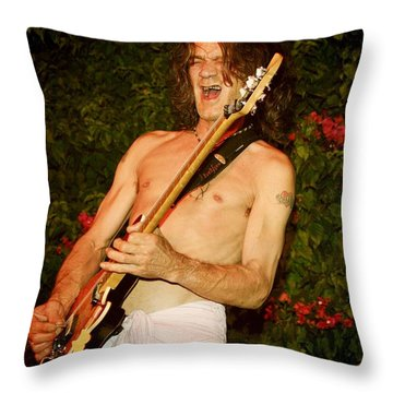 Eddie Van Halen Throw Pillow by Nina Prommer
