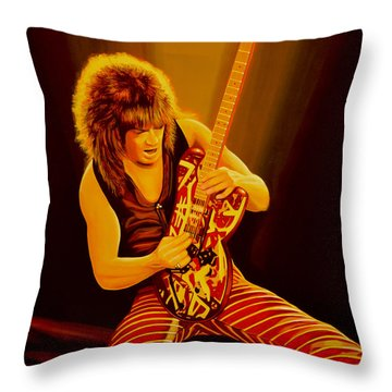 Eddie Van Halen Painting Throw Pillow by Paul Meijering